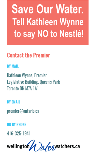 Tell Kathleen Wynne to say NO to Nestle!
